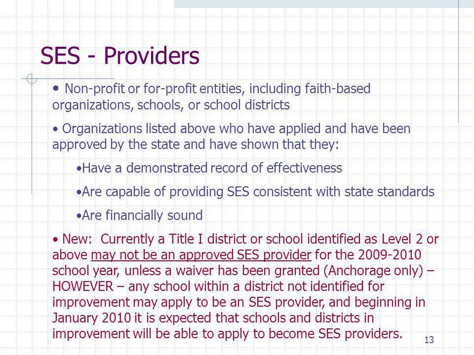 13 Non-profit or for-profit entities, including faith-based organizations, schools, or school districts Organizations listed above who have applied and have been approved by the state and have shown that they: Have a demonstrated record of effectiveness Are capable of providing SES consistent with state standards Are financially sound New: Currently a Title I district or school identified as Level 2 or above may not be an approved SES provider for the 2009-2010 school year, unless a waiver has been granted (Anchorage only) – HOWEVER – any school within a district not identified for improvement may apply to be an SES provider, and beginning in January 2010 it is expected that schools and districts in improvement will be able to apply to become SES providers.