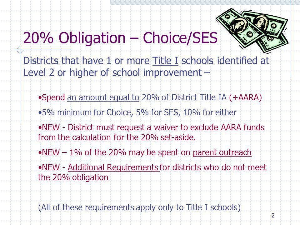 2 20% Obligation – Choice/SES Districts that have 1 or more Title I schools identified at Level 2 or higher of school improvement – Spend an amount equal to 20% of District Title IA (+AARA) 5% minimum for Choice, 5% for SES, 10% for either NEW - District must request a waiver to exclude AARA funds from the calculation for the 20% set-aside.