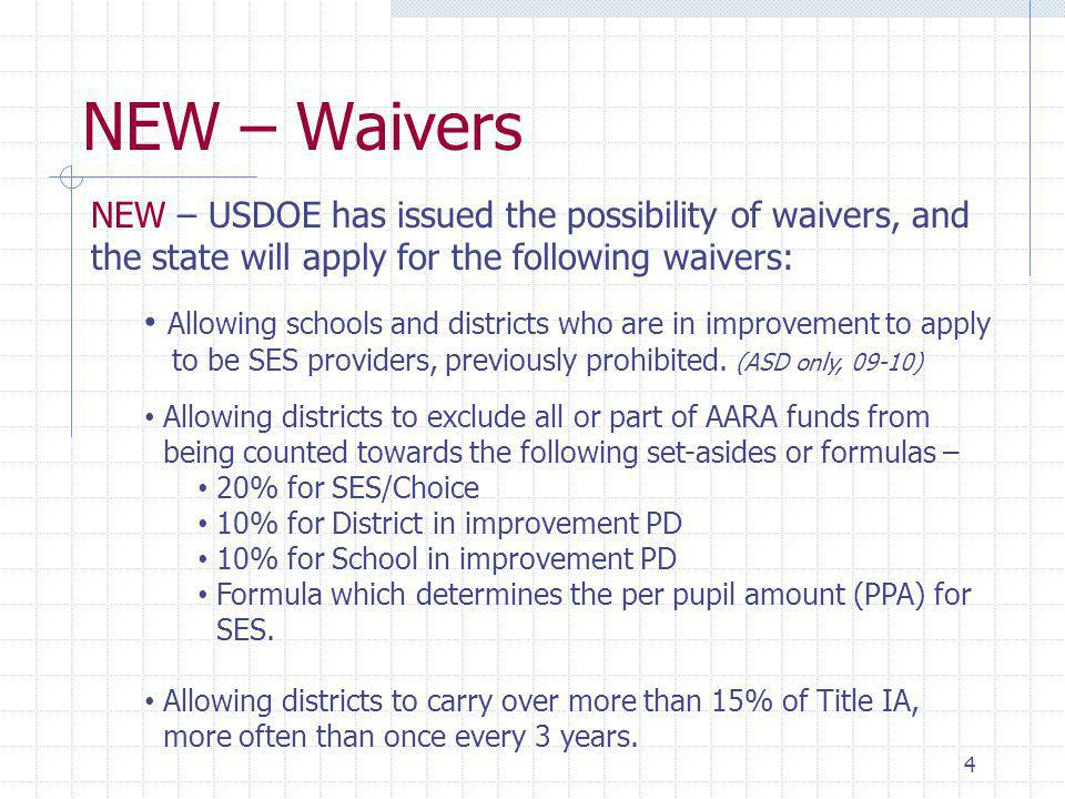 NEW – Waivers 4 NEW – USDOE has issued the possibility of waivers, and the state will apply for the following waivers: Allowing schools and districts