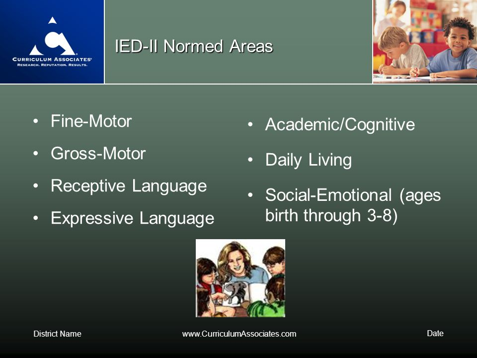 District Namewww.CurriculumAssociates.com Date IED-II Normed Areas Fine-Motor Gross-Motor Receptive Language Expressive Language Academic/Cognitive Da