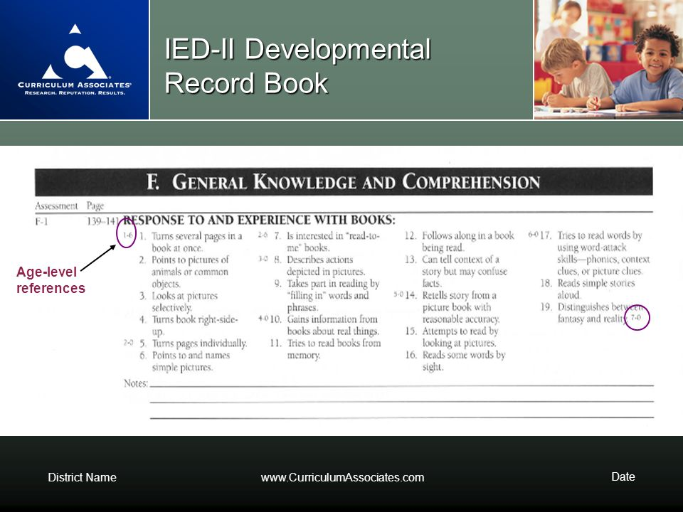 District Namewww.CurriculumAssociates.com Date IED-II Developmental Record Book Age-level references