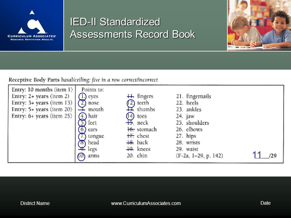 District Namewww.CurriculumAssociates.com Date IED-II Standardized Assessments Record Book 11