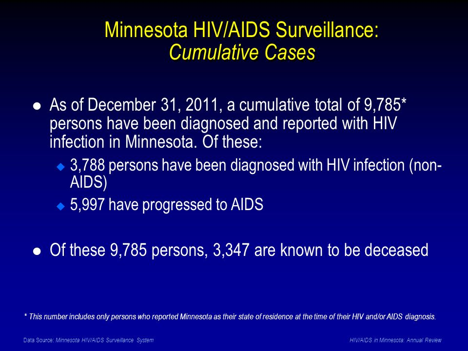 Data Source: Minnesota HIV/AIDS Surveillance System HIV/AIDS in Minnesota: Annual Review Minnesota HIV/AIDS Surveillance: Cumulative Cases As of December 31, 2011, a cumulative total of 9,785* persons have been diagnosed and reported with HIV infection in Minnesota.