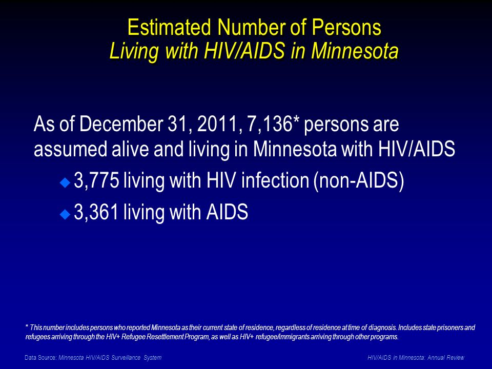 Data Source: Minnesota HIV/AIDS Surveillance System HIV/AIDS in Minnesota: Annual Review Estimated Number of Persons Living with HIV/AIDS in Minnesota As of December 31, 2011, 7,136* persons are assumed alive and living in Minnesota with HIV/AIDS 3,775 living with HIV infection (non-AIDS) 3,361 living with AIDS * This number includes persons who reported Minnesota as their current state of residence, regardless of residence at time of diagnosis.