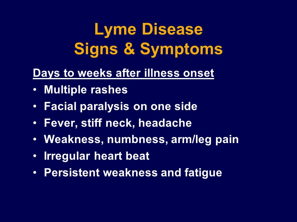 Lyme Disease Signs & Symptoms Days to weeks after illness onset Multiple rashes Facial paralysis on one side Fever, stiff neck, headache Weakness, num