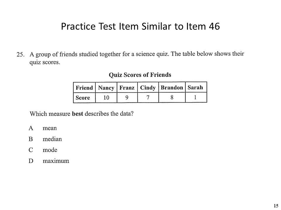 15 Practice Test Item Similar to Item 46