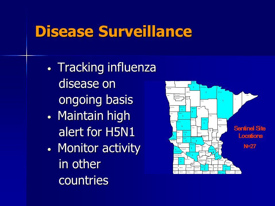 Disease Surveillance Tracking influenza Tracking influenza disease on disease on ongoing basis ongoing basis Maintain high Maintain high alert for H5N1 alert for H5N1 Monitor activity Monitor activity in other in other countries countries