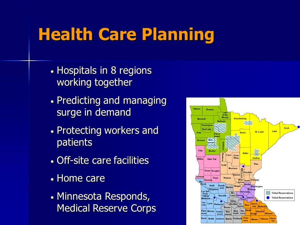 Health Care Planning Hospitals in 8 regions working together Hospitals in 8 regions working together Predicting and managing surge in demand Predictin