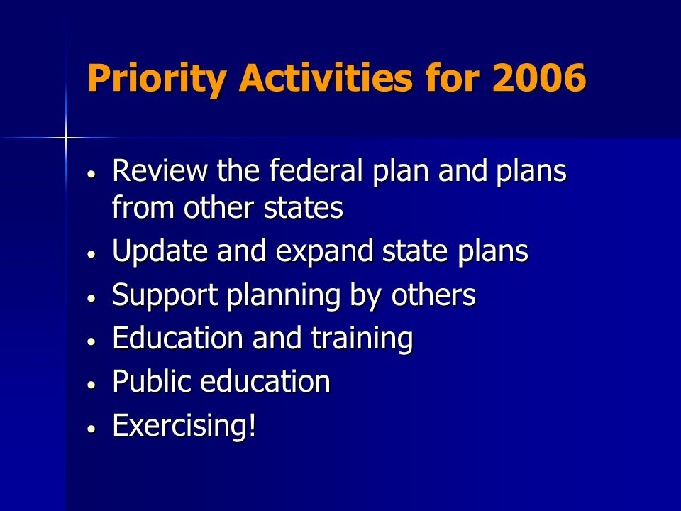 Priority Activities for 2006 Review the federal plan and plans from other states Review the federal plan and plans from other states Update and expand