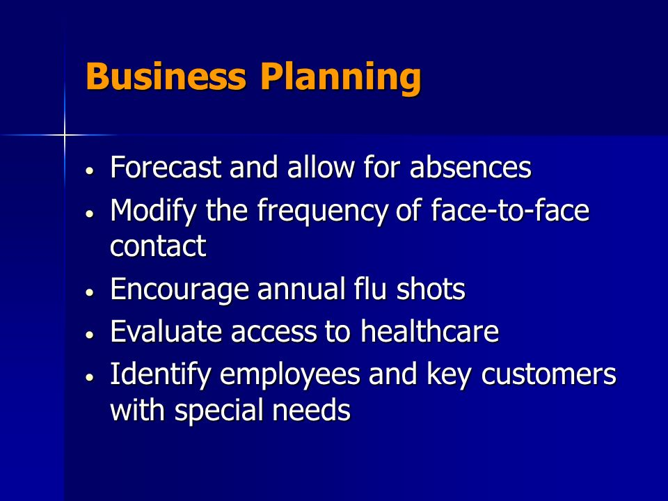 Business Planning Forecast and allow for absences Forecast and allow for absences Modify the frequency of face-to-face contact Modify the frequency of