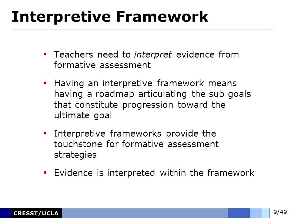 30/49 Linked to instructional goals Integrated into instruction Provide ongoing feedback at a level of detail to stimulate action for improvements in learning Constructed and undertaken within an interpretive framework Enable descriptive feedback to be provided to students Involve students in the assessment process Characteristics