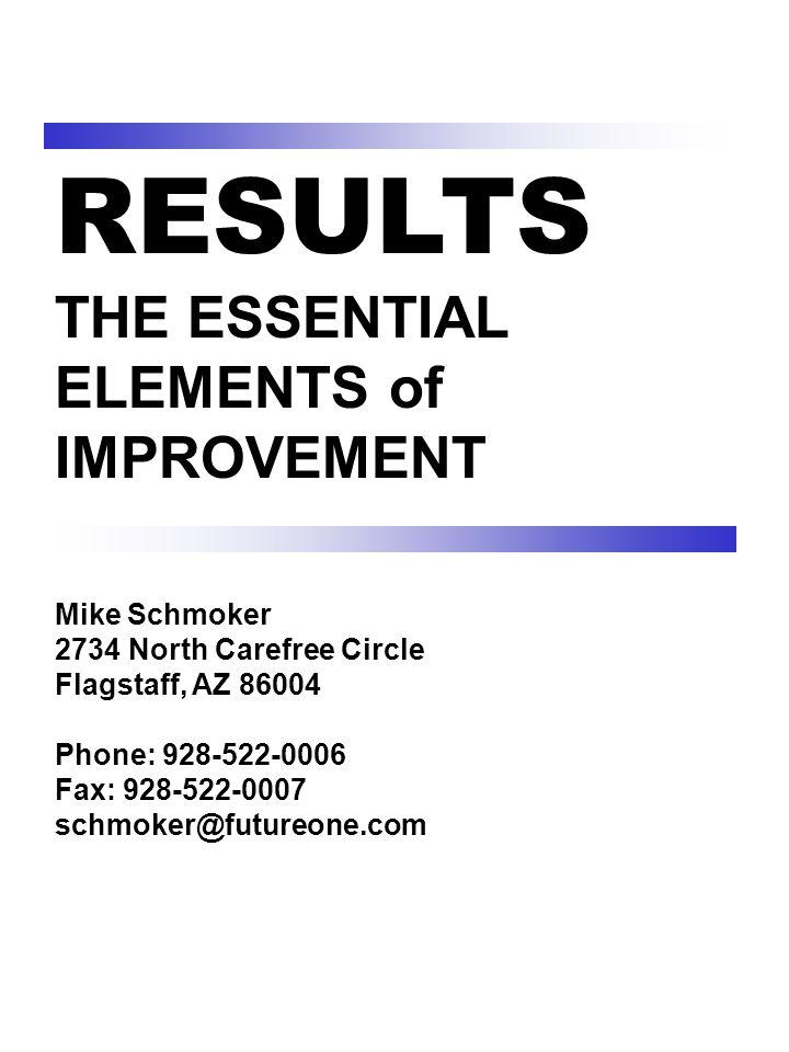 RESULTS THE ESSENTIAL ELEMENTS of IMPROVEMENT Mike Schmoker 2734 North Carefree Circle Flagstaff, AZ 86004 Phone: 928-522-0006 Fax: 928-522-0007 schmoker@futureone.com