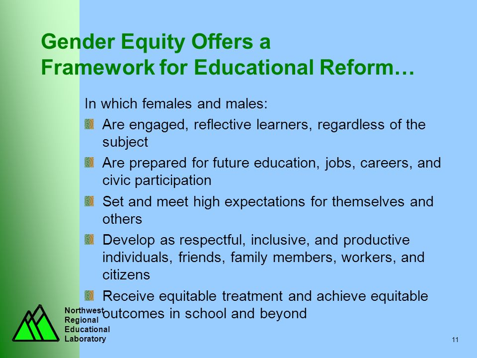 Northwest Regional Educational Laboratory 11 Gender Equity Offers a Framework for Educational Reform… In which females and males: Are engaged, reflect