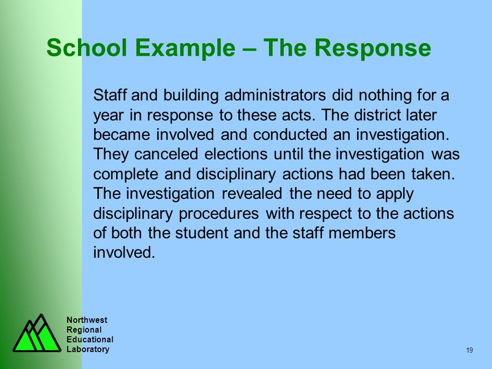 Northwest Regional Educational Laboratory 19 School Example – The Response Staff and building administrators did nothing for a year in response to the