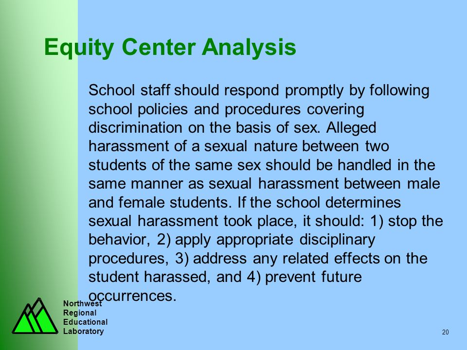 Northwest Regional Educational Laboratory 20 Equity Center Analysis School staff should respond promptly by following school policies and procedures c