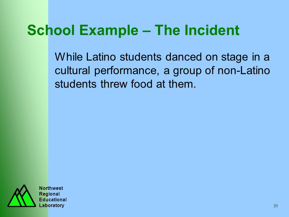 Northwest Regional Educational Laboratory 31 School Example – The Incident While Latino students danced on stage in a cultural performance, a group of