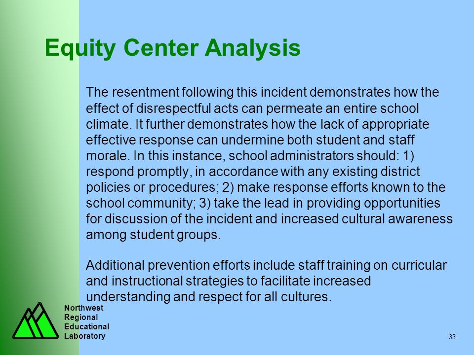 Northwest Regional Educational Laboratory 33 Equity Center Analysis The resentment following this incident demonstrates how the effect of disrespectfu