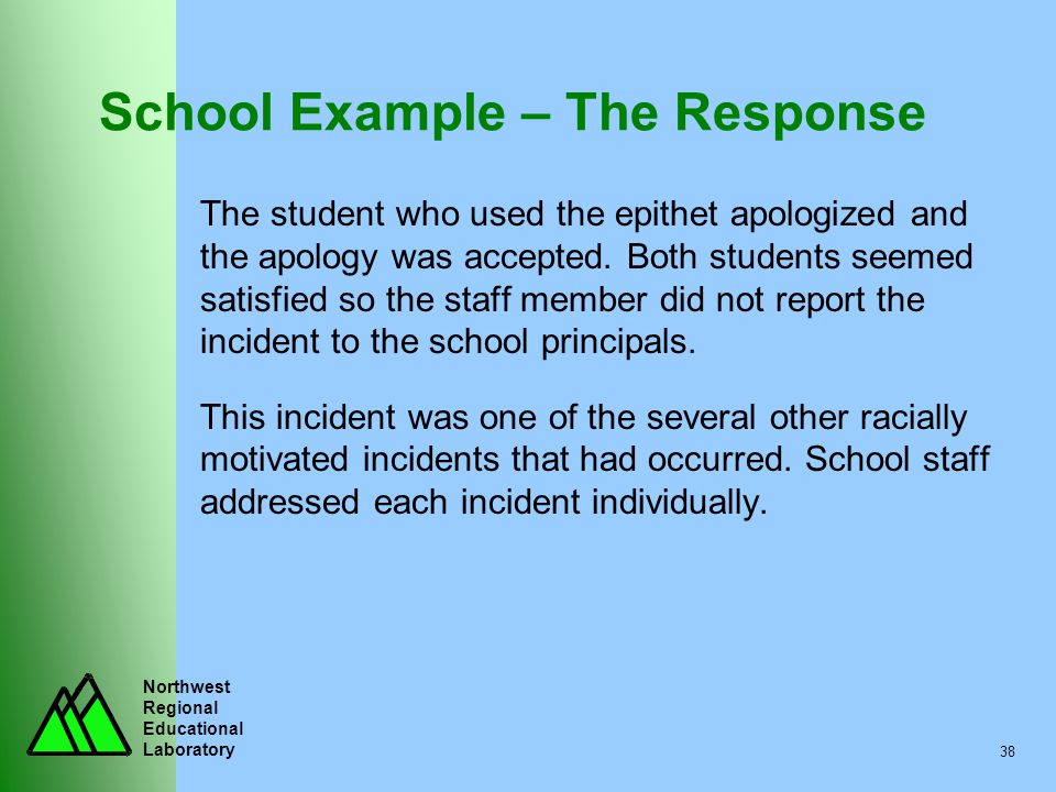 Northwest Regional Educational Laboratory 38 School Example – The Response The student who used the epithet apologized and the apology was accepted. B
