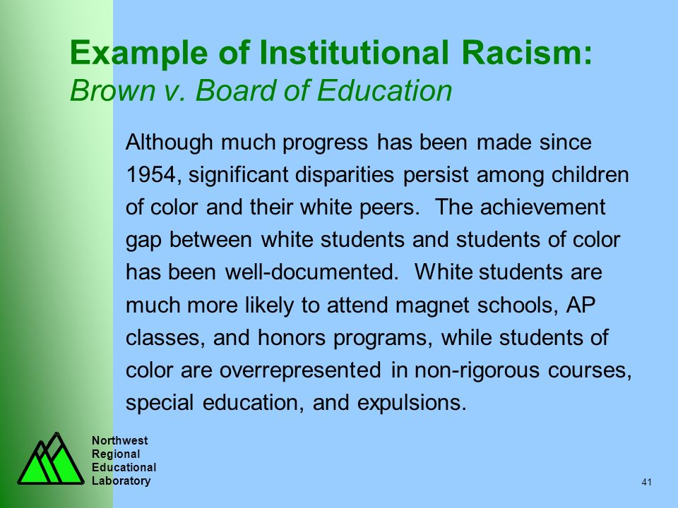 Northwest Regional Educational Laboratory 41 Example of Institutional Racism: Brown v. Board of Education Although much progress has been made since 1