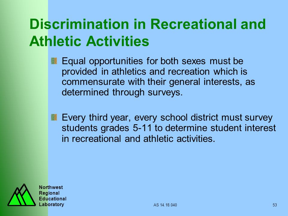 Northwest Regional Educational Laboratory AS 14.18.04053 Discrimination in Recreational and Athletic Activities Equal opportunities for both sexes mus