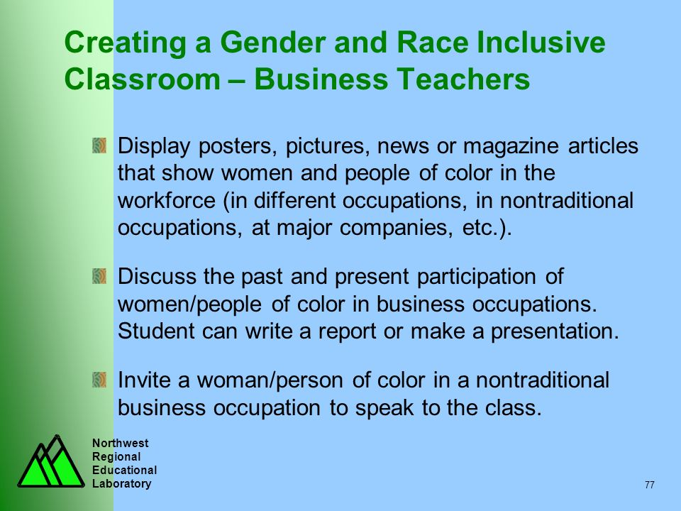 Northwest Regional Educational Laboratory 77 Creating a Gender and Race Inclusive Classroom – Business Teachers Display posters, pictures, news or mag