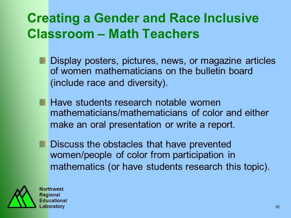 Northwest Regional Educational Laboratory 80 Creating a Gender and Race Inclusive Classroom – Math Teachers Display posters, pictures, news, or magazi