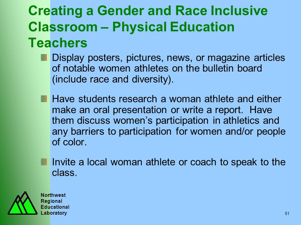 Northwest Regional Educational Laboratory 81 Creating a Gender and Race Inclusive Classroom – Physical Education Teachers Display posters, pictures, n