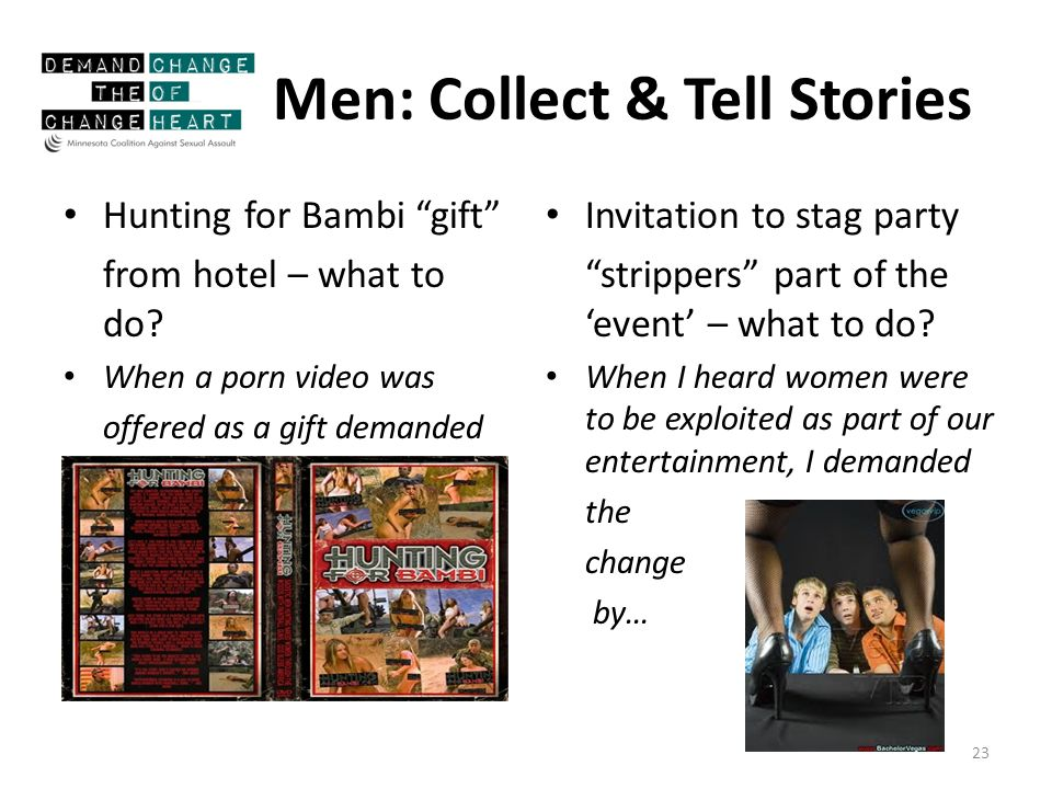 Men: Collect & Tell Stories Hunting for Bambi gift from hotel – what to do.