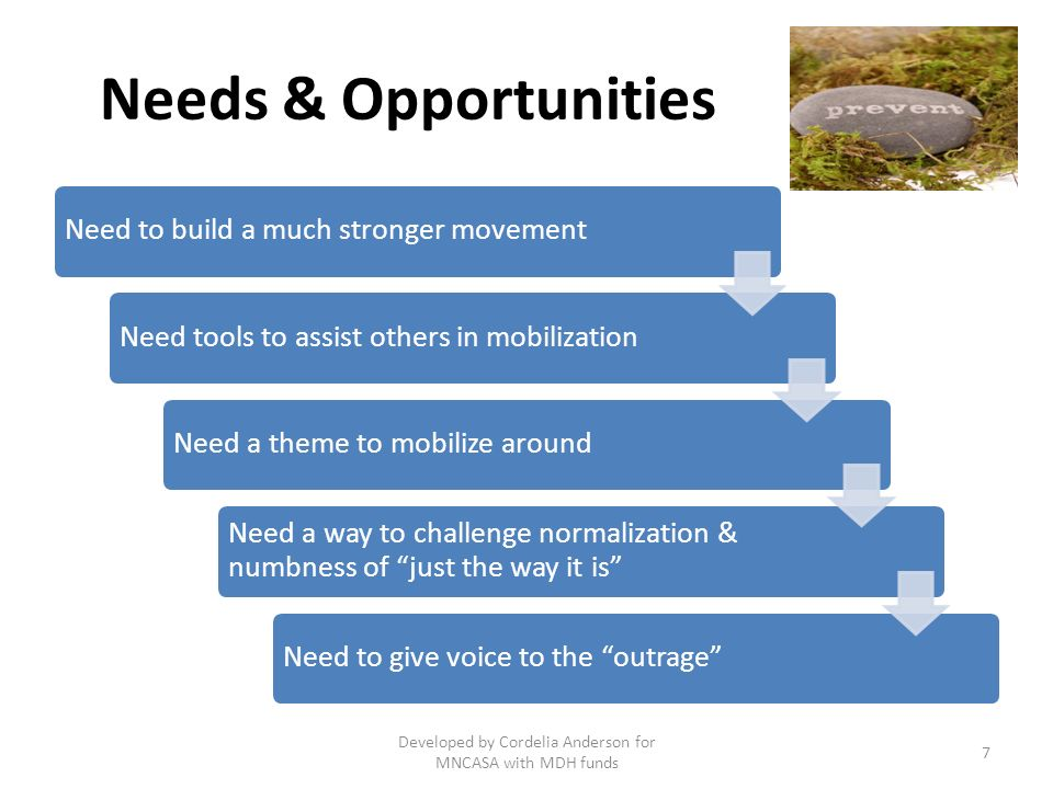 Need a MBA: Movement Building, Action Initiative: A doable action the it that can: Challenge demand for children and women as sexual objects/commodities - things for others sexual use Ignite the political will and individual courage to take action against unhealthy social & gender norms, commoditization of sexuality and acceptance of the endemic of sexual harms Mobilize for equality, social justice, our collective sexual health – AN INVESTMENT IN PREVENTION 8 Developed by Cordelia Anderson for MNCASA with MDH funds