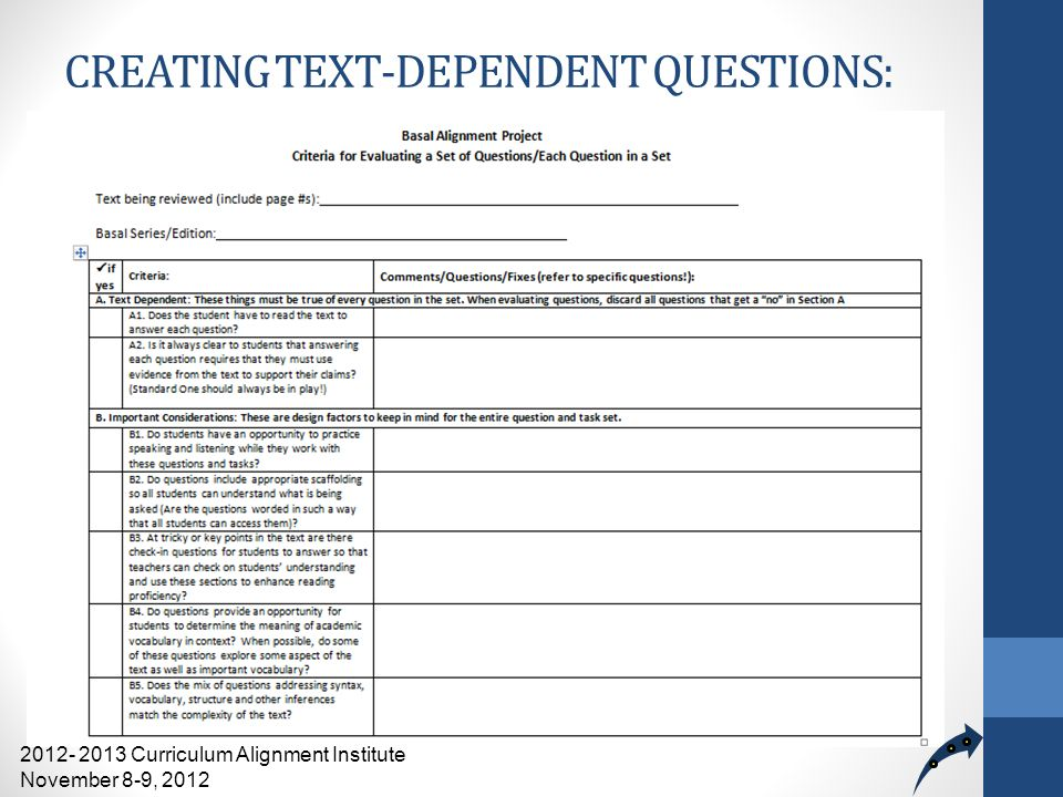 CREATING TEXT-DEPENDENT QUESTIONS: Review, Critique, and Revise 2012- 2013 Curriculum Alignment Institute November 8-9, 2012