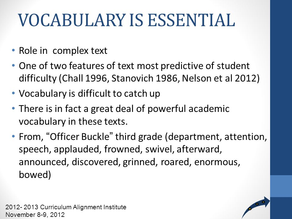 VOCABULARY IS ESSENTIAL Role in complex text One of two features of text most predictive of student difficulty (Chall 1996, Stanovich 1986, Nelson et al 2012) Vocabulary is difficult to catch up There is in fact a great deal of powerful academic vocabulary in these texts.