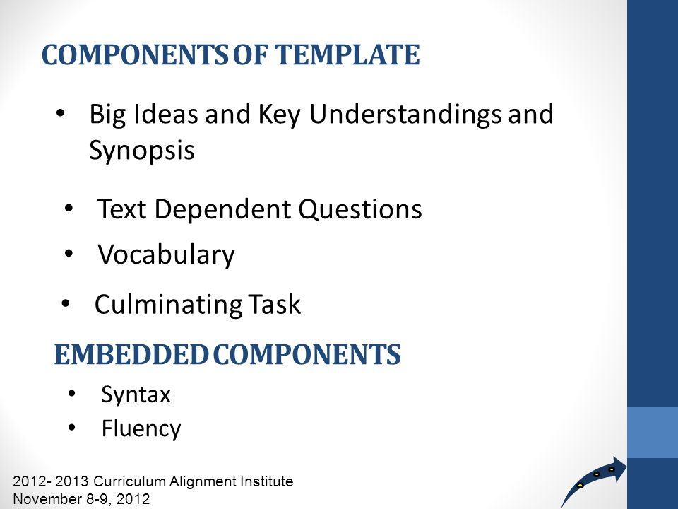 COMPONENTS OF TEMPLATE Big Ideas and Key Understandings and Synopsis Text Dependent Questions Vocabulary 2012- 2013 Curriculum Alignment Institute November 8-9, 2012 EMBEDDED COMPONENTS Syntax Fluency Culminating Task