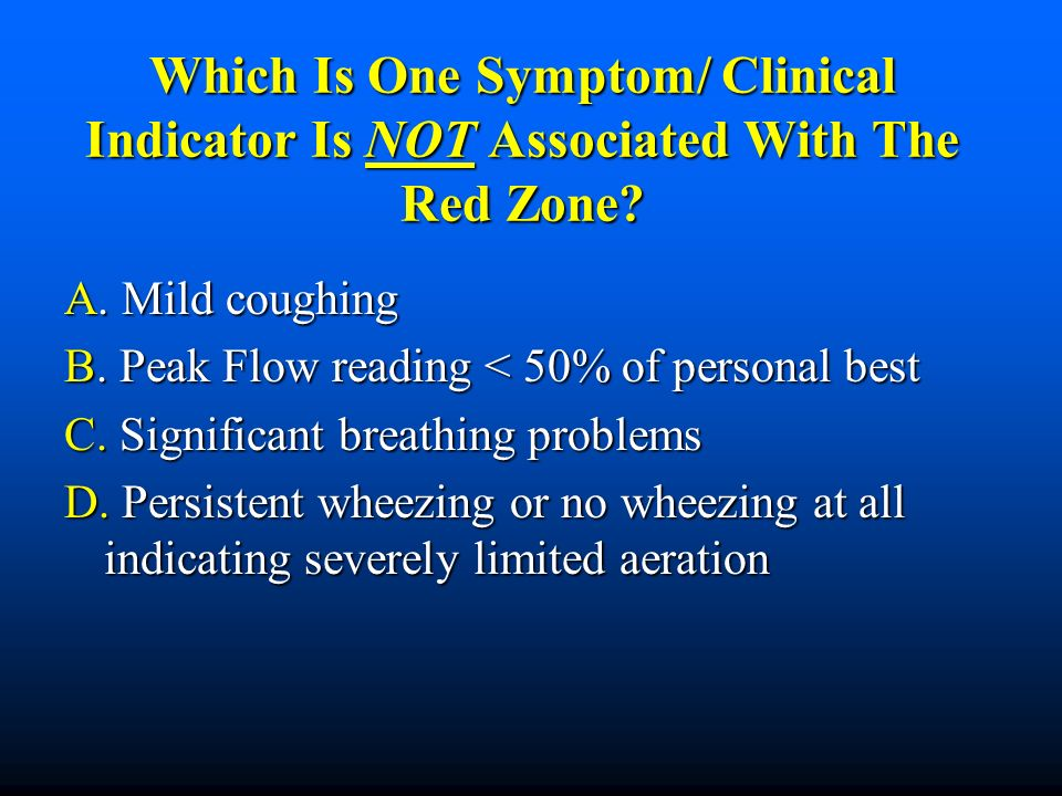 Which Is One Symptom/ Clinical Indicator Is NOT Associated With The Red Zone? A. Mild coughing B. Peak Flow reading < 50% of personal best C. Signific