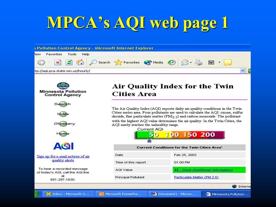 MPCAs AQI web page 1