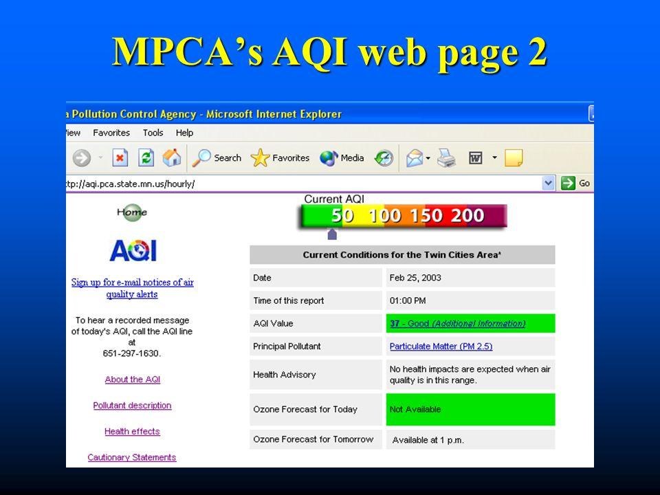 MPCAs AQI web page 2