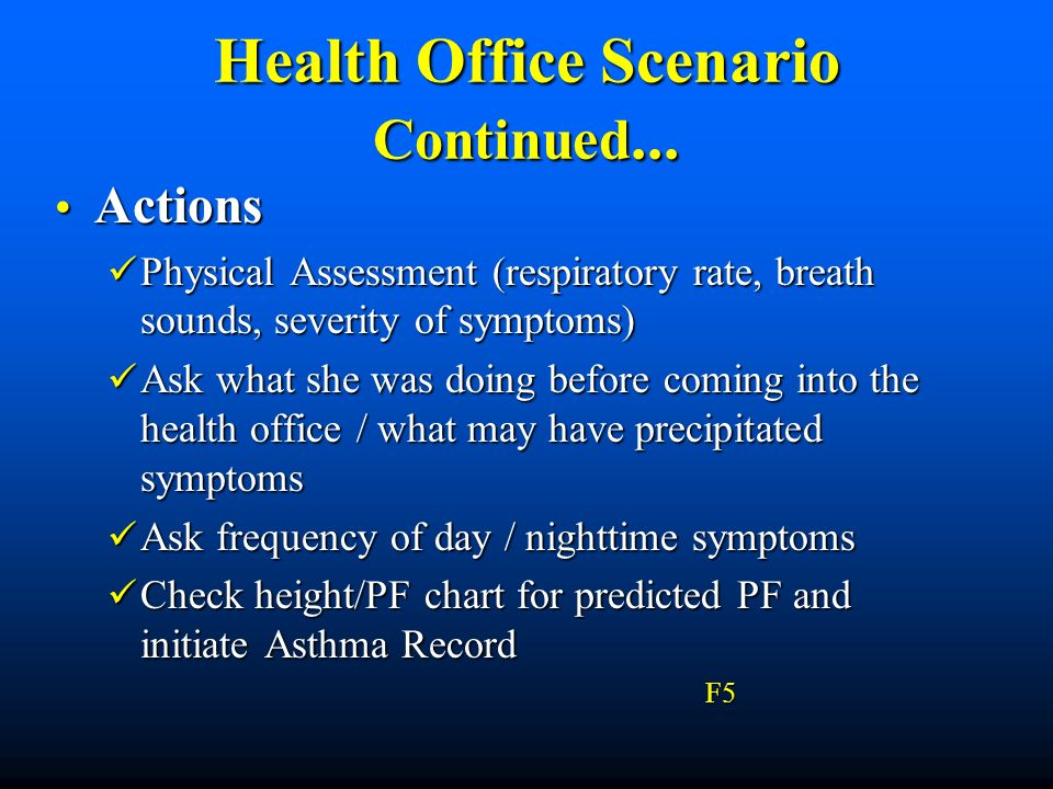 Health Office Scenario Continued... Actions Actions Physical Assessment (respiratory rate, breath sounds, severity of symptoms) Physical Assessment (r