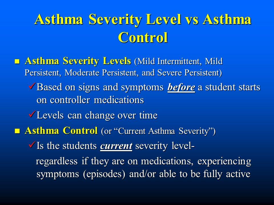 Asthma Severity Level vs Asthma Control Asthma Severity Levels (Mild Intermittent, Mild Persistent, Moderate Persistent, and Severe Persistent) Asthma