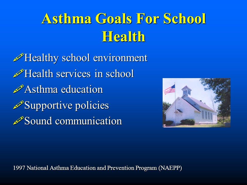 Asthma Goals For School Health Healthy school environment Healthy school environment Health services in school Health services in school Asthma educat