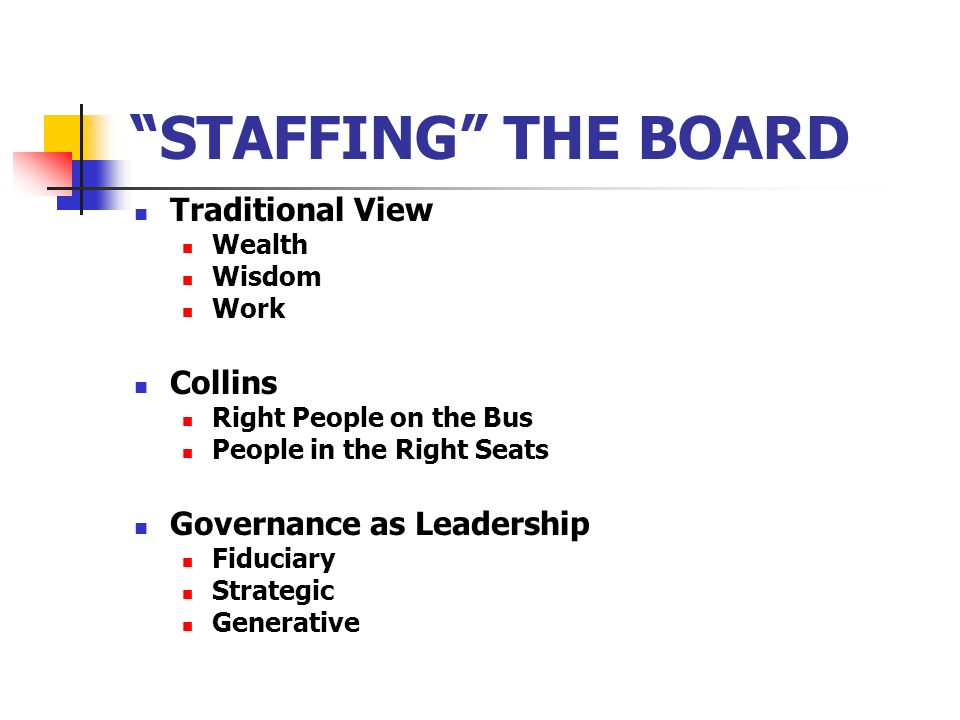 STAFFING THE BOARD Traditional View Wealth Wisdom Work Collins Right People on the Bus People in the Right Seats Governance as Leadership Fiduciary St