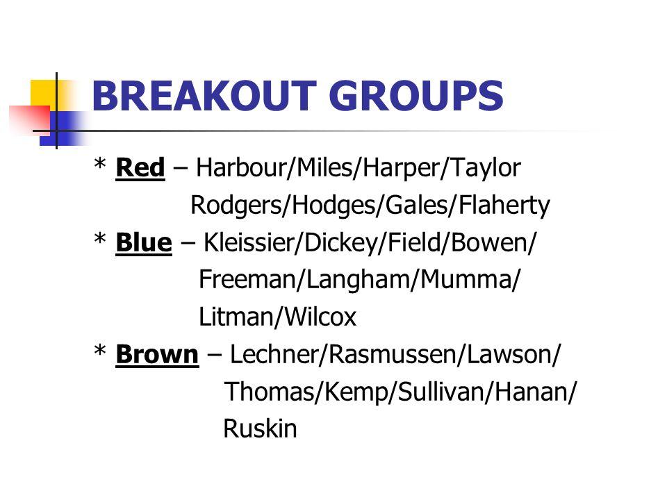 BREAKOUT GROUPS * Red – Harbour/Miles/Harper/Taylor Rodgers/Hodges/Gales/Flaherty * Blue – Kleissier/Dickey/Field/Bowen/ Freeman/Langham/Mumma/ Litman