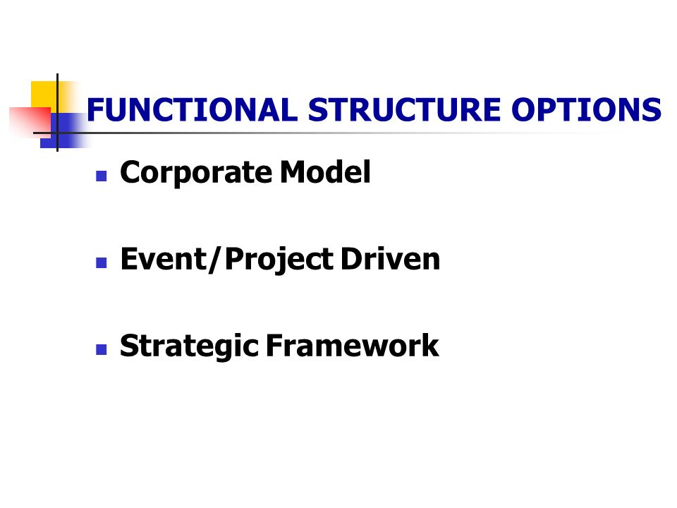 FUNCTIONAL STRUCTURE OPTIONS Corporate Model Event/Project Driven Strategic Framework