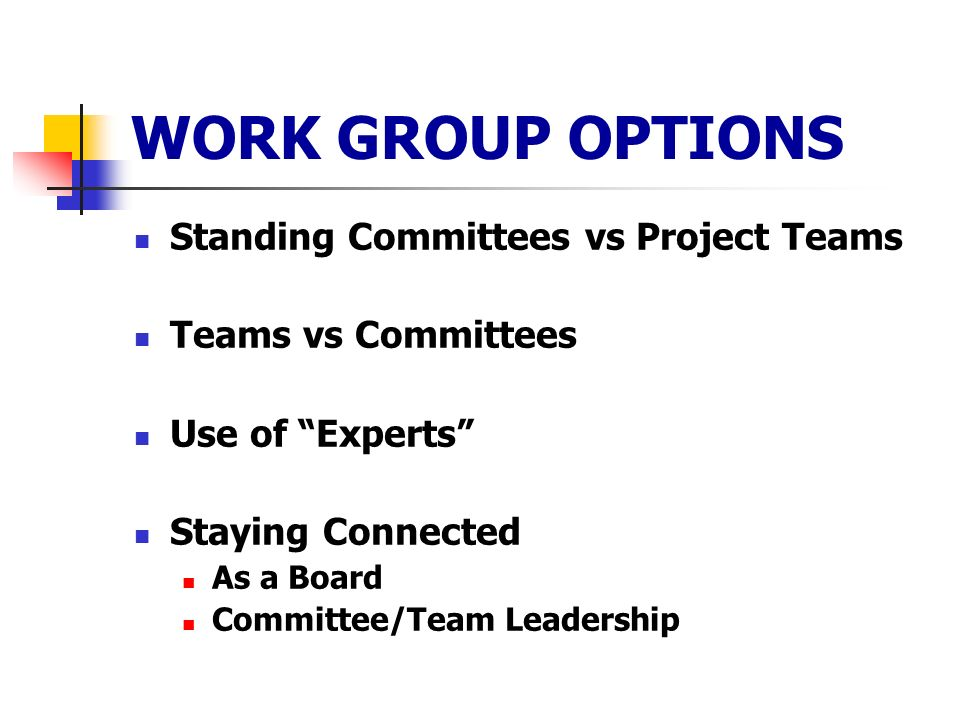 WORK GROUP OPTIONS Standing Committees vs Project Teams Teams vs Committees Use of Experts Staying Connected As a Board Committee/Team Leadership