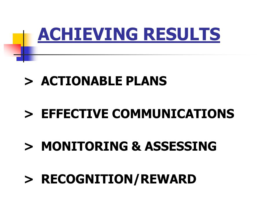 ACHIEVING RESULTS > ACTIONABLE PLANS > EFFECTIVE COMMUNICATIONS > MONITORING & ASSESSING > RECOGNITION/REWARD
