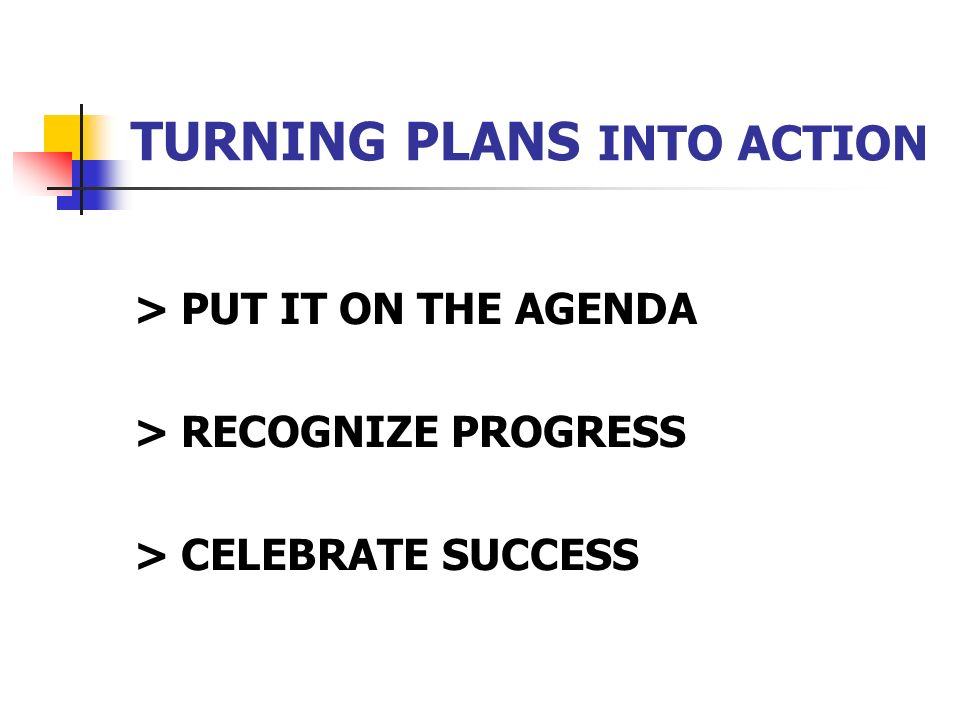 TURNING PLANS INTO ACTION > PUT IT ON THE AGENDA > RECOGNIZE PROGRESS > CELEBRATE SUCCESS