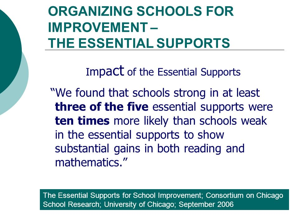 ORGANIZING SCHOOLS FOR IMPROVEMENT – THE ESSENTIAL SUPPORTS The Essential Supports for School Improvement; Consortium on Chicago School Research; University of Chicago; September 2006 I m p a c t of the Essential Supports We found that schools strong in at least three of the five essential supports were ten times more likely than schools weak in the essential supports to show substantial gains in both reading and mathematics.