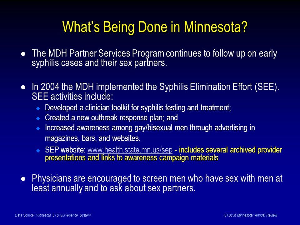 Data Source: Minnesota STD Surveillance System STDs in Minnesota: Annual Review Whats Being Done in Minnesota.