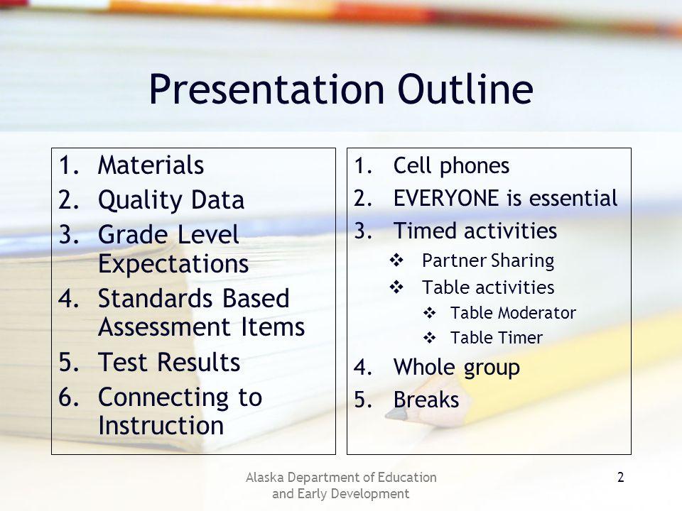 Alaska Department of Education and Early Development 13 Test Blueprint