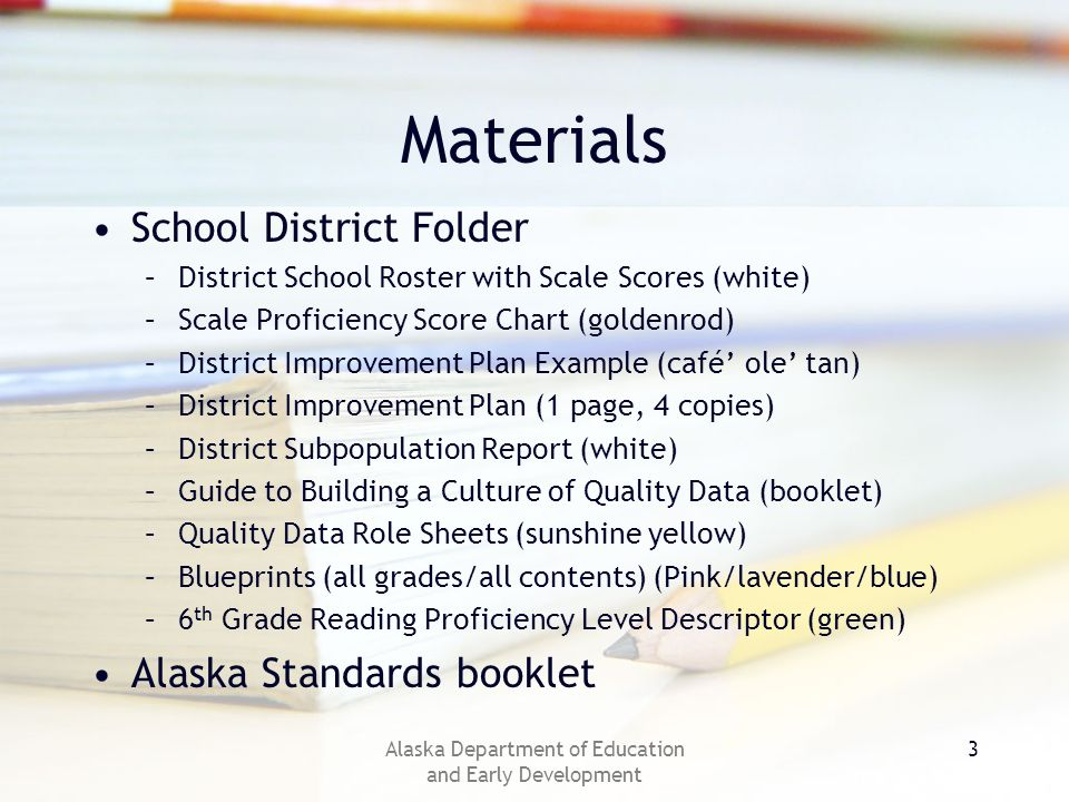 Alaska Department of Education and Early Development 3 Materials School District Folder –District School Roster with Scale Scores (white) –Scale Proficiency Score Chart (goldenrod) –District Improvement Plan Example (café ole tan) –District Improvement Plan (1 page, 4 copies) –District Subpopulation Report (white) –Guide to Building a Culture of Quality Data (booklet) –Quality Data Role Sheets (sunshine yellow) –Blueprints (all grades/all contents) (Pink/lavender/blue) –6 th Grade Reading Proficiency Level Descriptor (green) Alaska Standards booklet