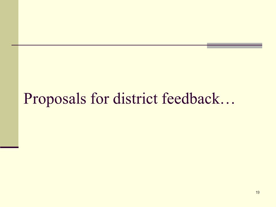 19 Proposals for district feedback…
