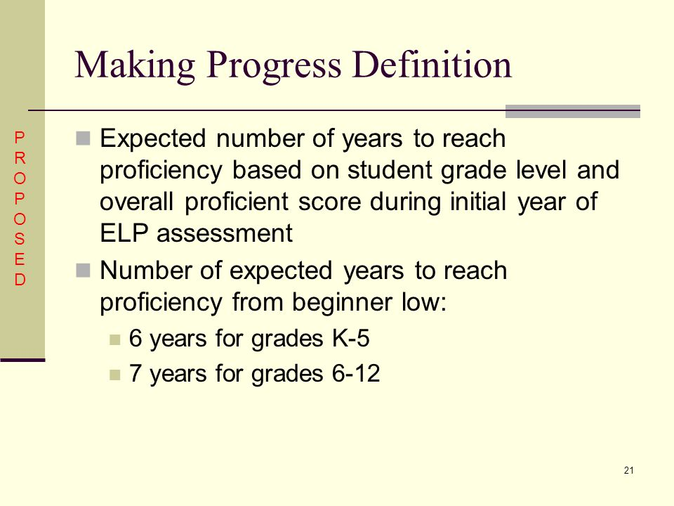 21 Making Progress Definition Expected number of years to reach proficiency based on student grade level and overall proficient score during initial year of ELP assessment Number of expected years to reach proficiency from beginner low: 6 years for grades K-5 7 years for grades 6-12 PROPOSEDPROPOSED
